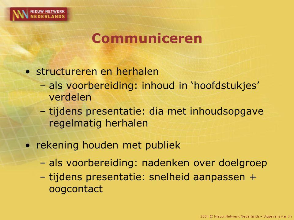 Communiceren structureren en herhalen