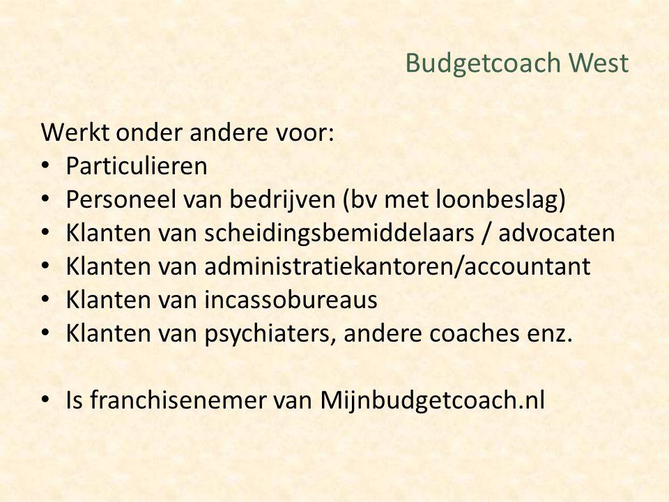 Budgetcoach West Werkt onder andere voor: Particulieren
