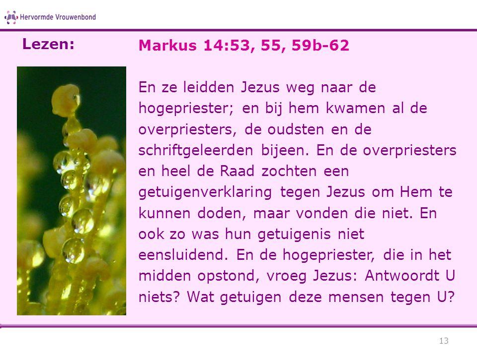 Lezen: Markus 14:53, 55, 59b-62.