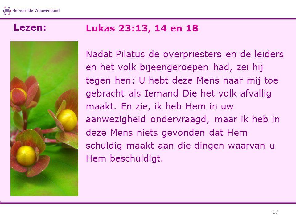 Lezen: Lukas 23:13, 14 en 18.