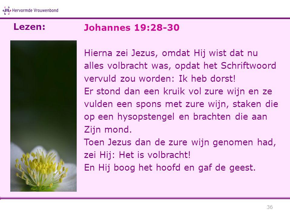 Lezen: Johannes 19:28-30. Hierna zei Jezus, omdat Hij wist dat nu alles volbracht was, opdat het Schriftwoord vervuld zou worden: Ik heb dorst!