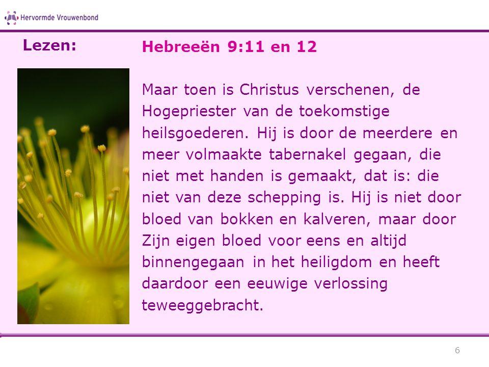 Lezen: Hebreeën 9:11 en 12.