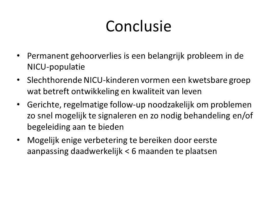 Conclusie Permanent gehoorverlies is een belangrijk probleem in de NICU-populatie.