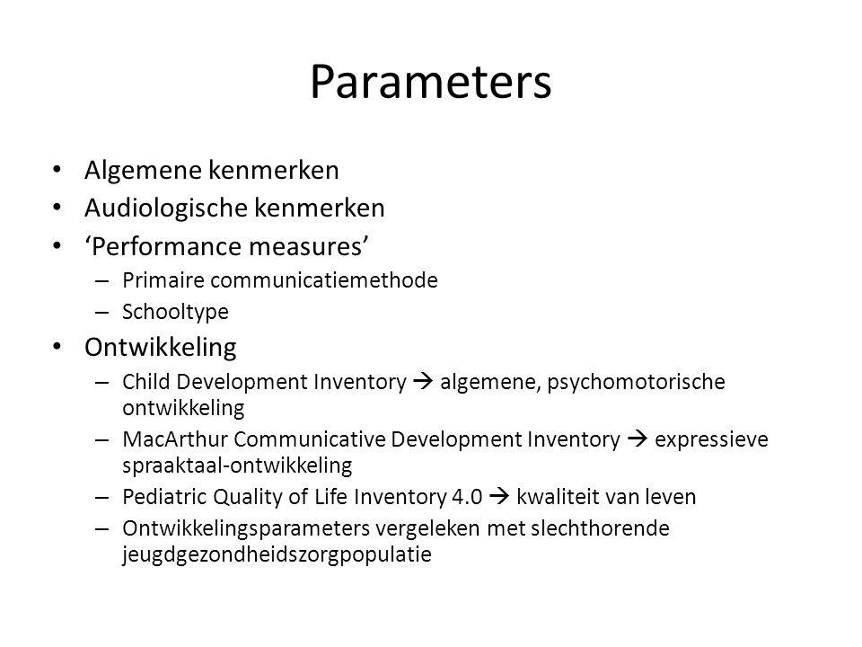 Parameters Algemene kenmerken Audiologische kenmerken