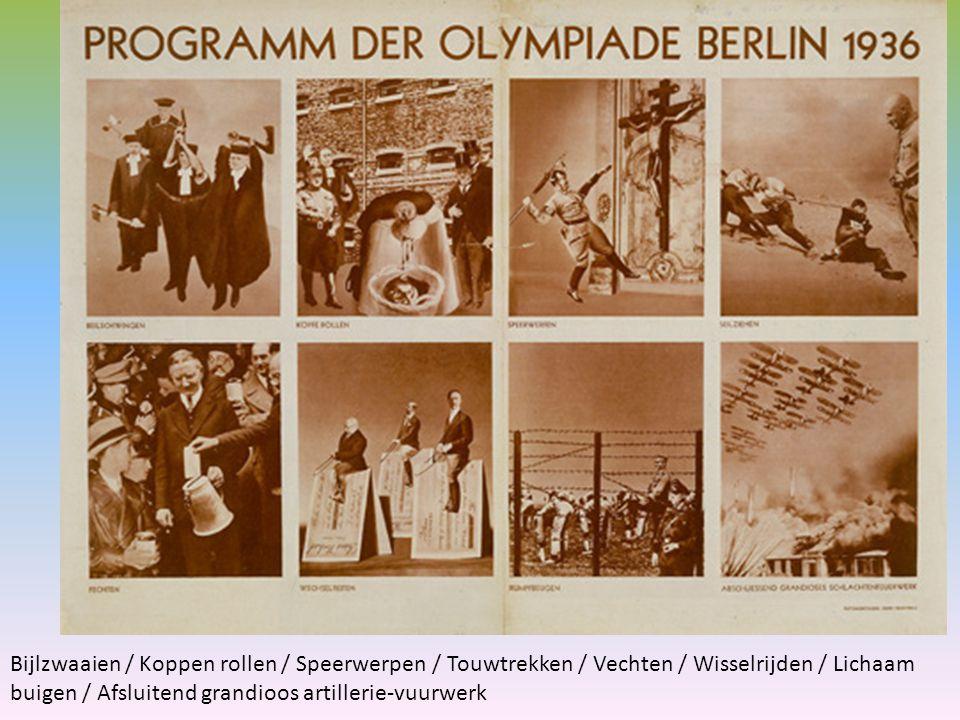 van de Olympische Spelen Berlijn 1936 Bijlzwaaien / Koppen rollen / Speerwerpen / Touwtrekken / Vechten / Wisselrijden / Lichaam buigen / Afsluitend grandioos artillerie-vuurwerk In Berlijn werden in 1936 de elfde Olympische Spelen gehouden. Voor het nazi-regime een prachtige gelegenheid zich te presenteren als respectabel en succesvol lid van de wereldgemeenschap. Heartfield geeft in deze montage in een alternatief sportprogramma aan wat de werkelijkheid is voor Joden en tegenstanders van het regime in nazi-Duitsland. Wrang en spottend verheft Heartfield de duivelse praktijken van de nazi's tot nieuwe sporten. Hij ontmaskert de Spelen als propagandamiddel.