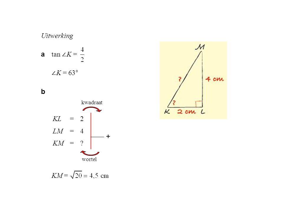 + Uitwerking a tan ∠K = ∠K = 63° b KM = KL = 2 4 LM 16 KM 20