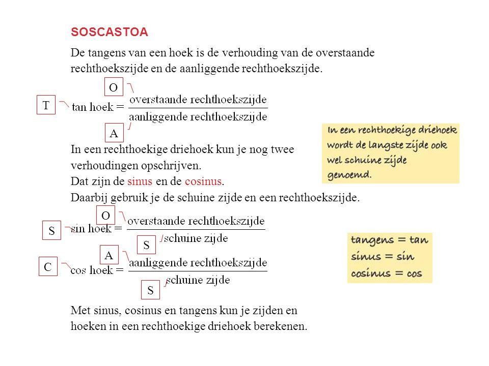 SOSCASTOA De tangens van een hoek is de verhouding van de overstaande. rechthoekszijde en de aanliggende rechthoekszijde.