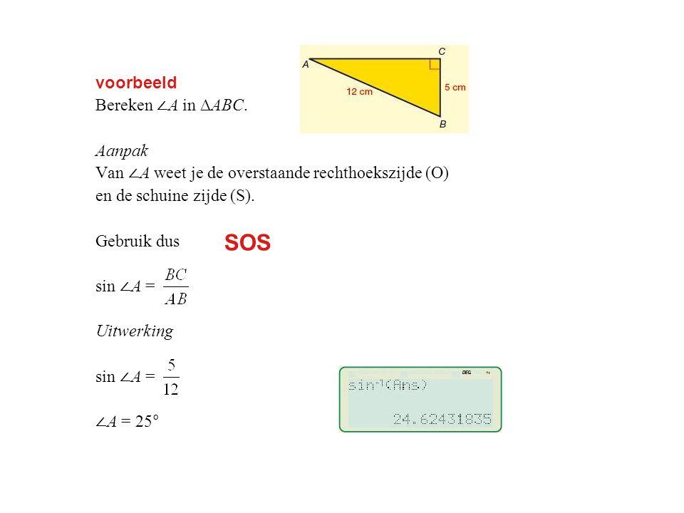 SOS voorbeeld Bereken ∠A in ∆ABC. Aanpak