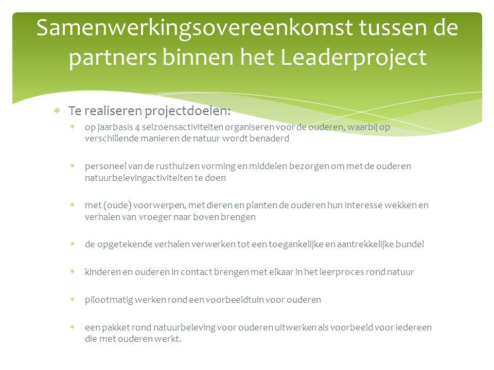Samenwerkingsovereenkomst tussen de partners binnen het Leaderproject