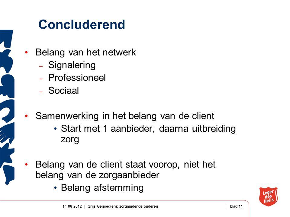 Concluderend Belang van het netwerk Signalering Professioneel Sociaal