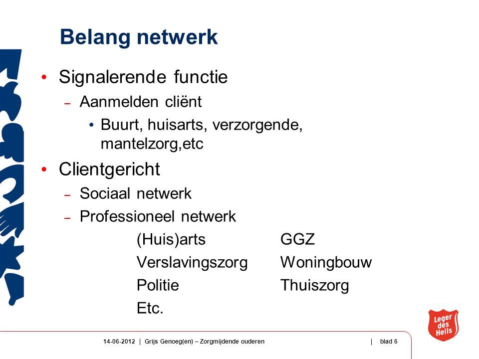 Belang netwerk Signalerende functie Clientgericht Aanmelden cliënt