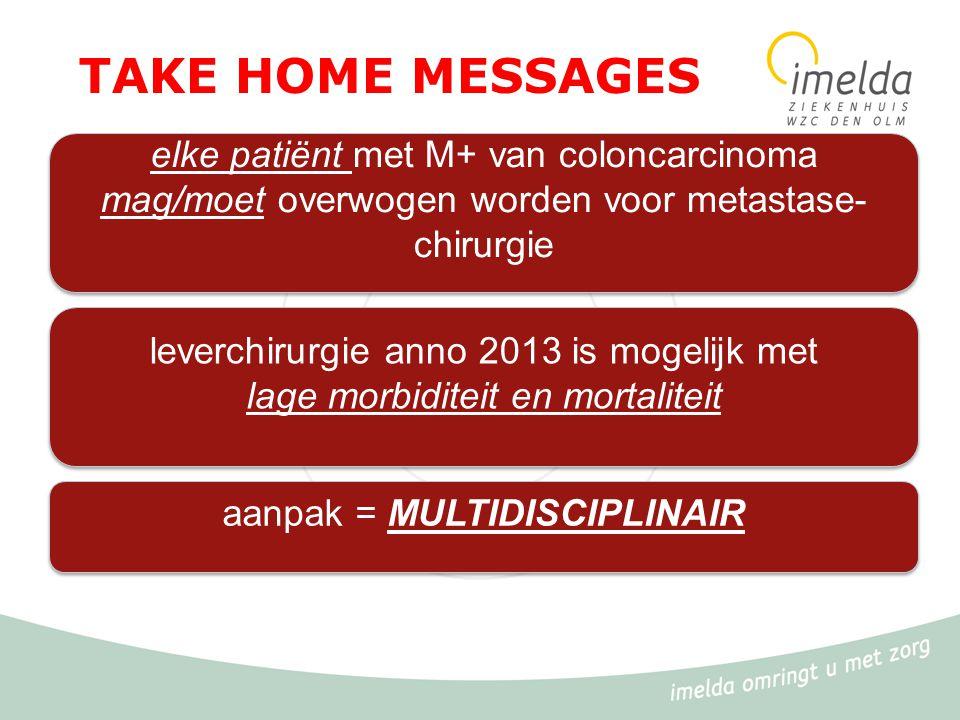 TAKE HOME MESSAGES elke patiënt met M+ van coloncarcinoma mag/moet overwogen worden voor metastase-chirurgie.