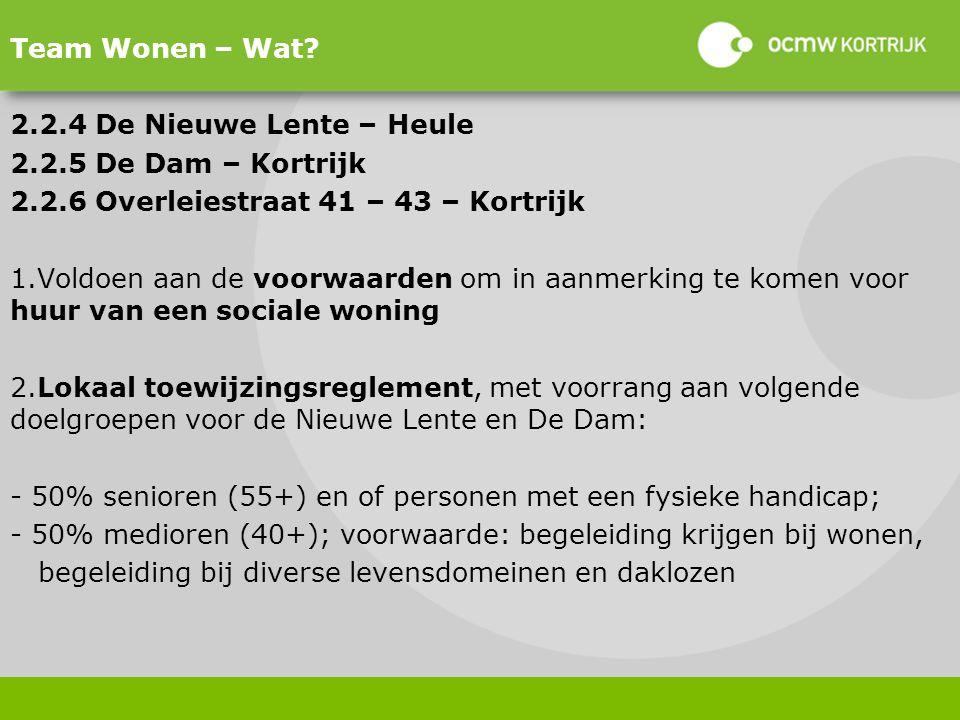 Team Wonen – Wat 2.2.4 De Nieuwe Lente – Heule. 2.2.5 De Dam – Kortrijk. 2.2.6 Overleiestraat 41 – 43 – Kortrijk.