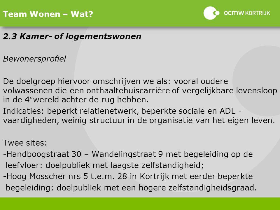 Team Wonen – Wat 2.3 Kamer- of logementswonen. Bewonersprofiel.