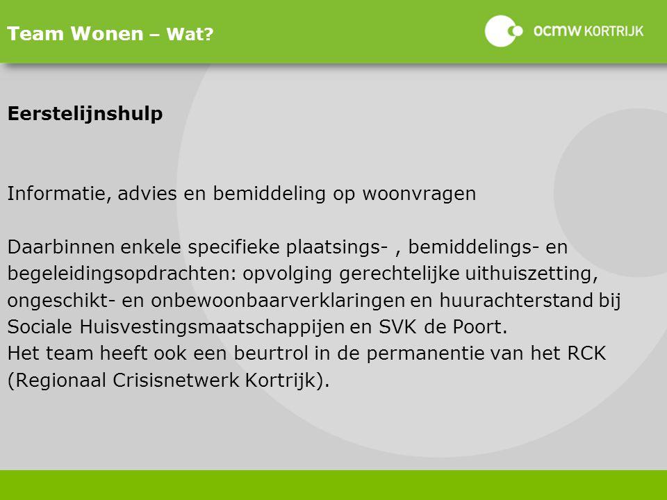 Team Wonen – Wat Eerstelijnshulp. Informatie, advies en bemiddeling op woonvragen. Daarbinnen enkele specifieke plaatsings- , bemiddelings- en.