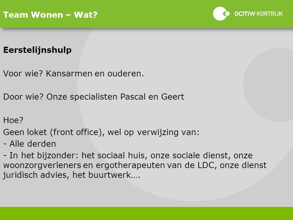 Team Wonen – Wat Eerstelijnshulp. Voor wie Kansarmen en ouderen. Door wie Onze specialisten Pascal en Geert.