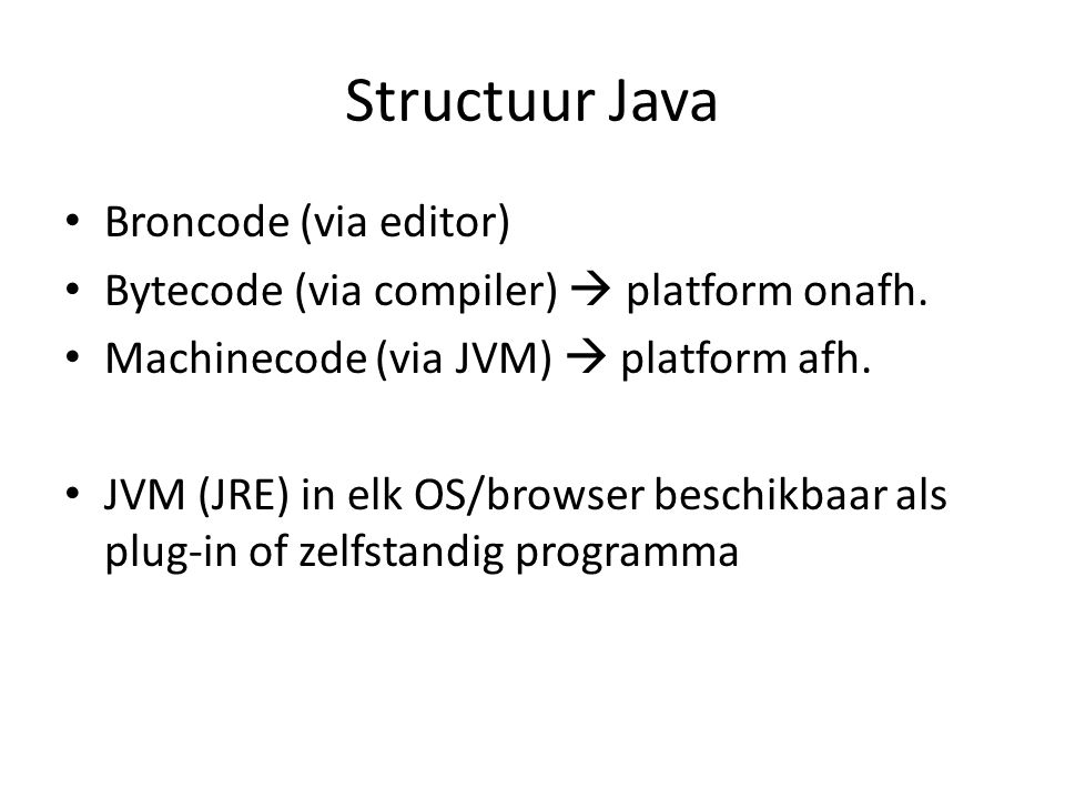 Structuur Java Broncode (via editor)