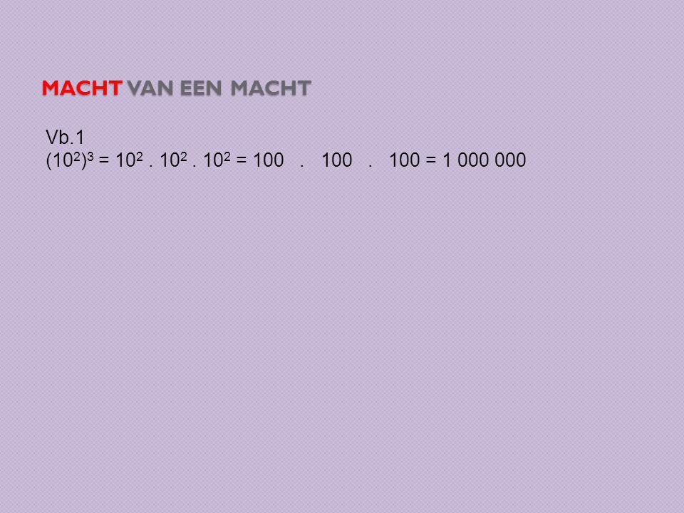 Macht van een macht Vb.1 (102)3 = 102 . 102 . 102 = 100 . 100 . 100 = 1 000 000