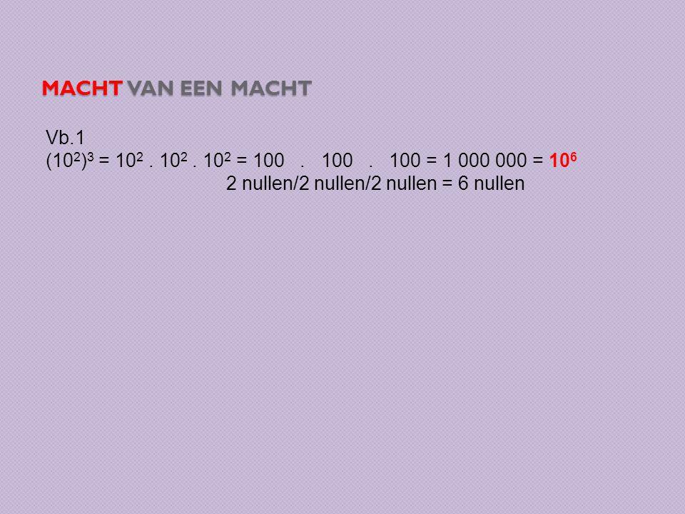 Macht van een macht Vb.1. (102)3 = 102 . 102 . 102 = 100 .