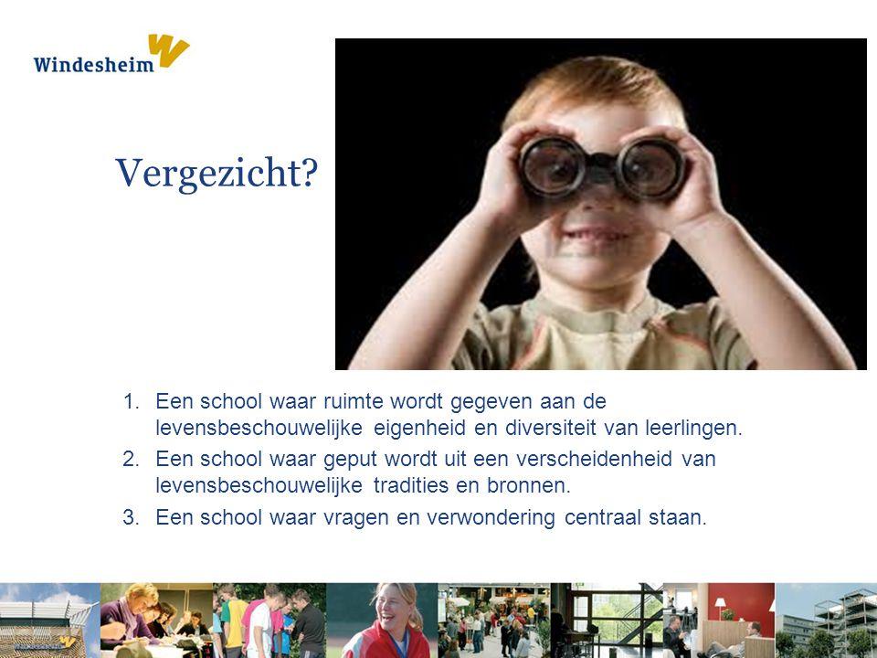 Vergezicht Een school waar ruimte wordt gegeven aan de levensbeschouwelijke eigenheid en diversiteit van leerlingen.
