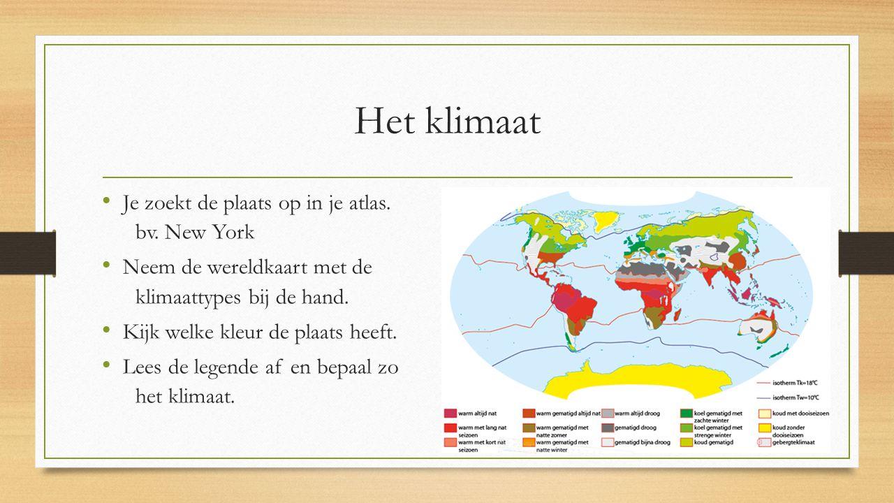 Het klimaat Je zoekt de plaats op in je atlas. bv. New York