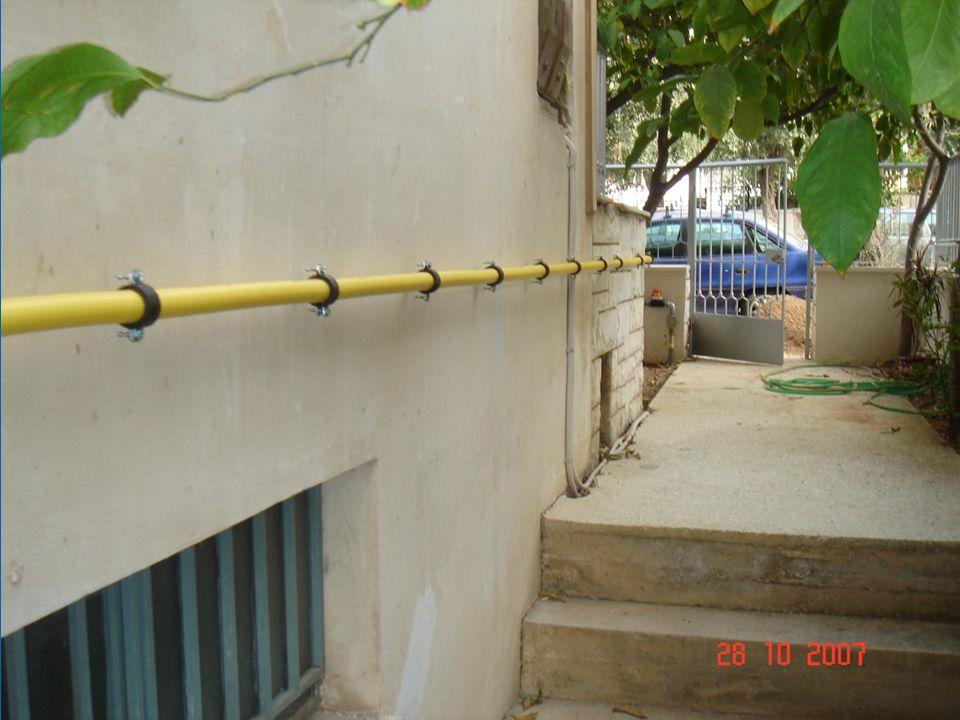 TRAC-PIPE aanleg van een PLT buis DN50 buiten bovengronds. Opgelet : De mechanische bescherming tot op een hoogte van 2 m ontbreekt!