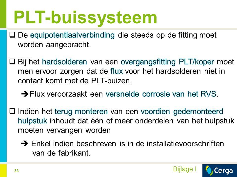 PLT-buissysteem De equipotentiaalverbinding die steeds op de fitting moet worden aangebracht.