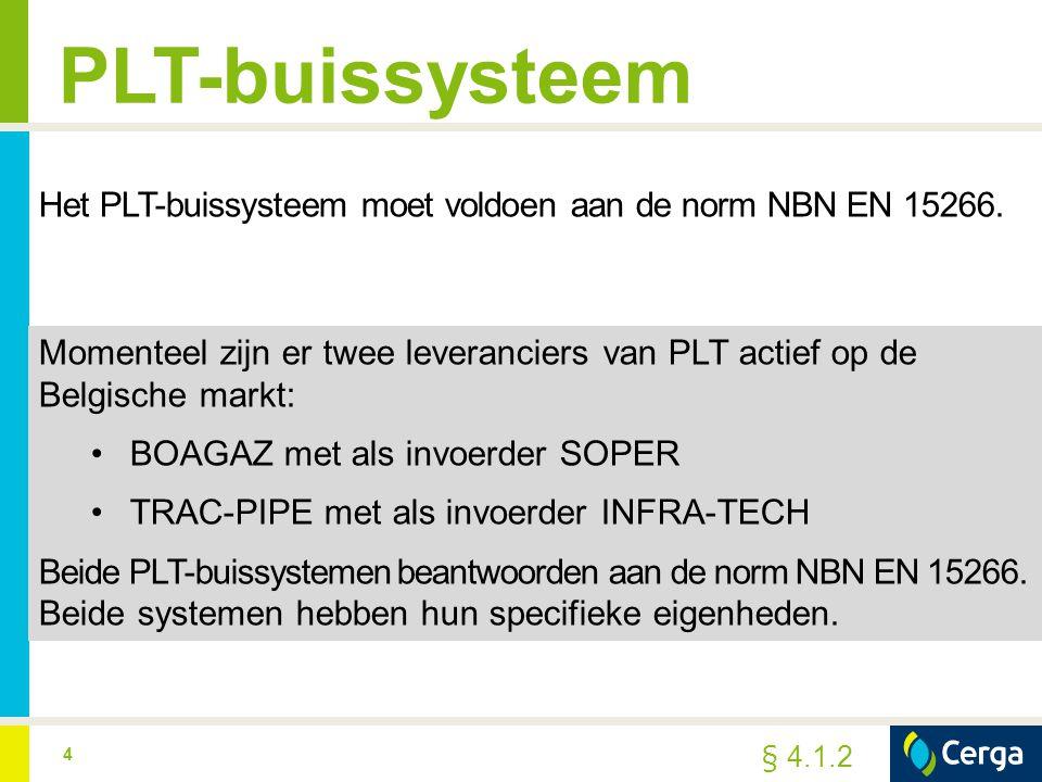 PLT-buissysteem Het PLT-buissysteem moet voldoen aan de norm NBN EN 15266.