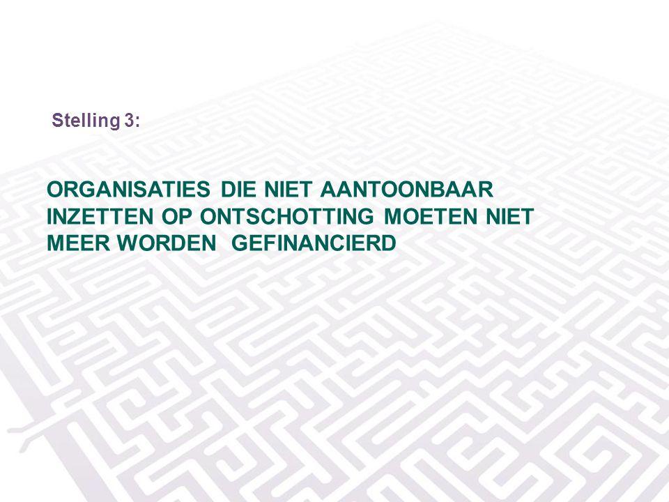Stelling 3: Organisaties die niet aantoonbaar inzetten op ontschotting moeten niet meer worden gefinancierd.