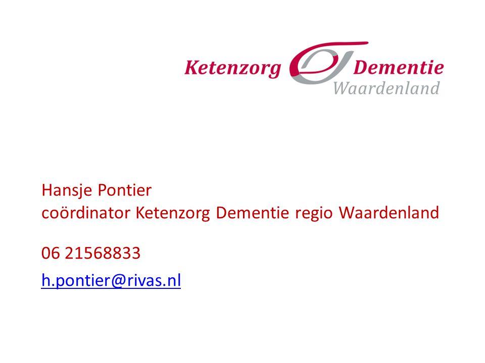 Hansje Pontier coördinator Ketenzorg Dementie regio Waardenland