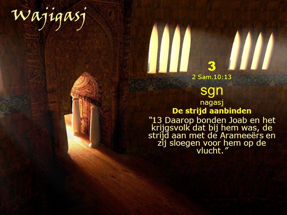 Wajigasj 3. 2 Sam.10:13. sgn. nagasj. De strijd aanbinden.