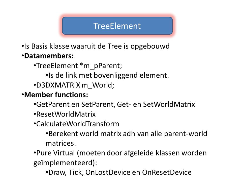 TreeElement Is Basis klasse waaruit de Tree is opgebouwd Datamembers: