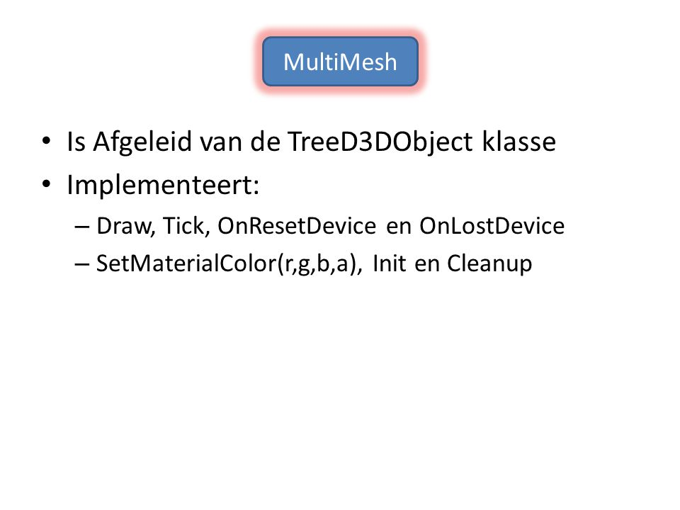 Is Afgeleid van de TreeD3DObject klasse Implementeert: