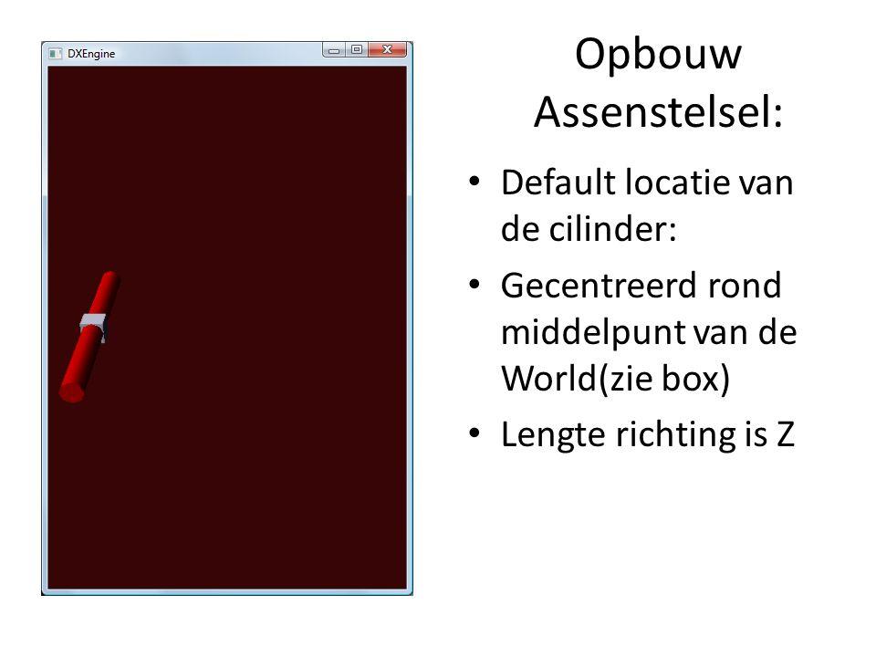 Opbouw Assenstelsel: Default locatie van de cilinder: