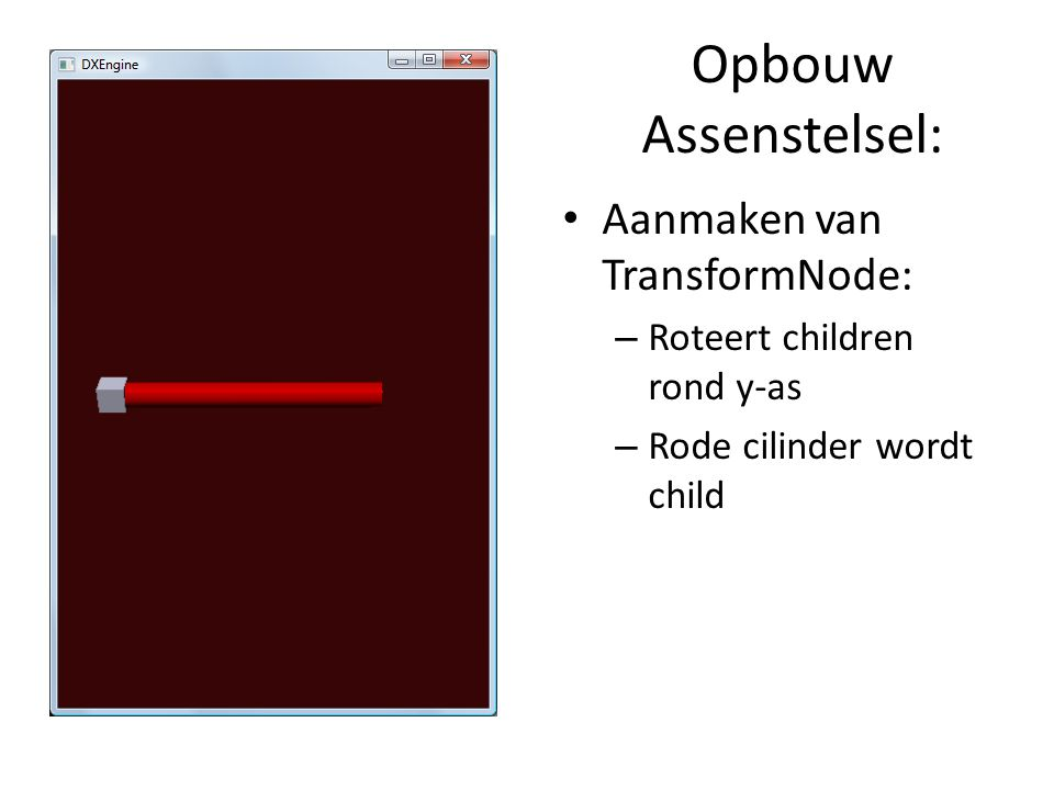 Opbouw Assenstelsel: Aanmaken van TransformNode: