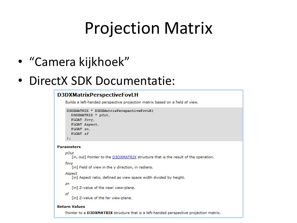 Projection Matrix Camera kijkhoek DirectX SDK Documentatie: