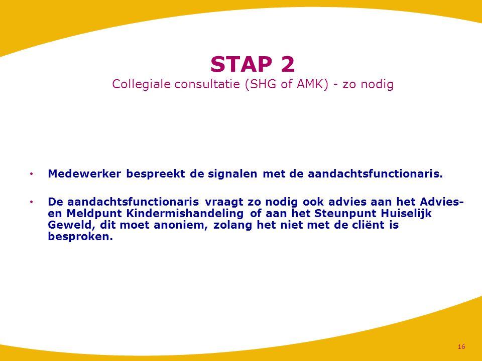 STAP 2 Collegiale consultatie (SHG of AMK) - zo nodig