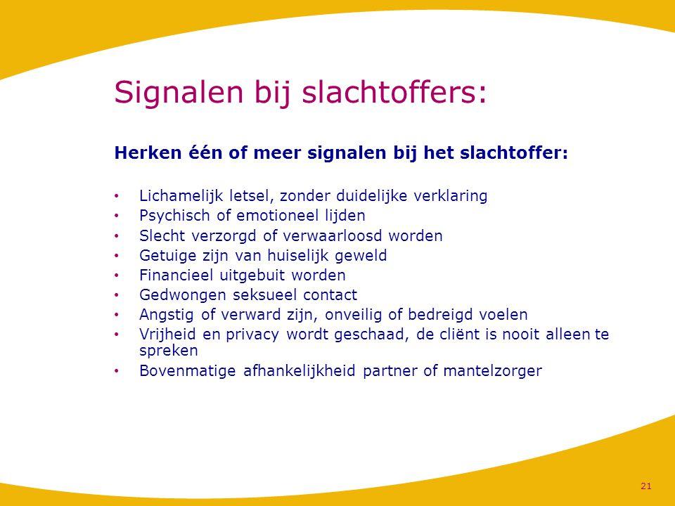 Signalen bij slachtoffers: