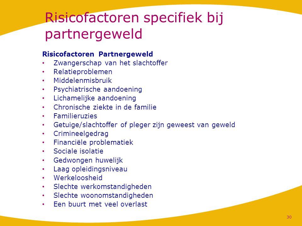 Risicofactoren specifiek bij partnergeweld