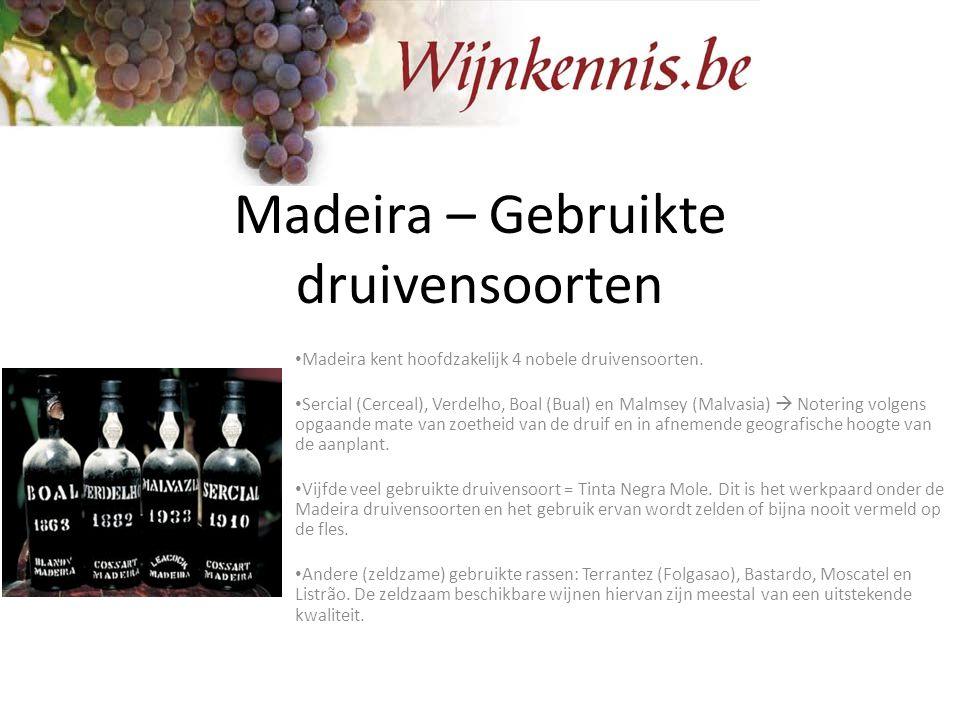 Madeira – Gebruikte druivensoorten