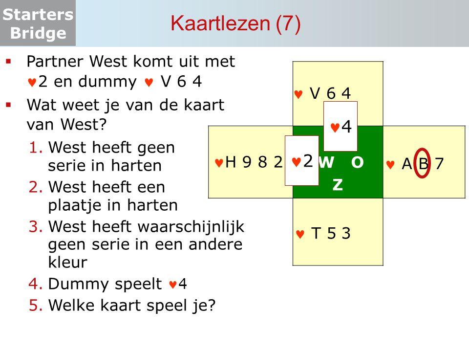 Kaartlezen (7) 4 2 Partner West komt uit met 2 en dummy  V 6 4