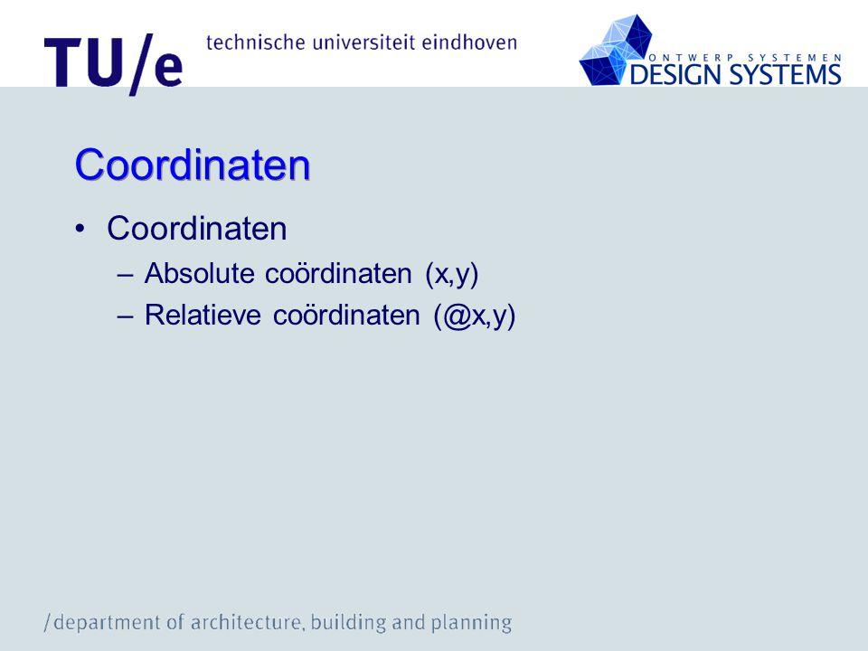Coordinaten Coordinaten Absolute coördinaten (x,y)