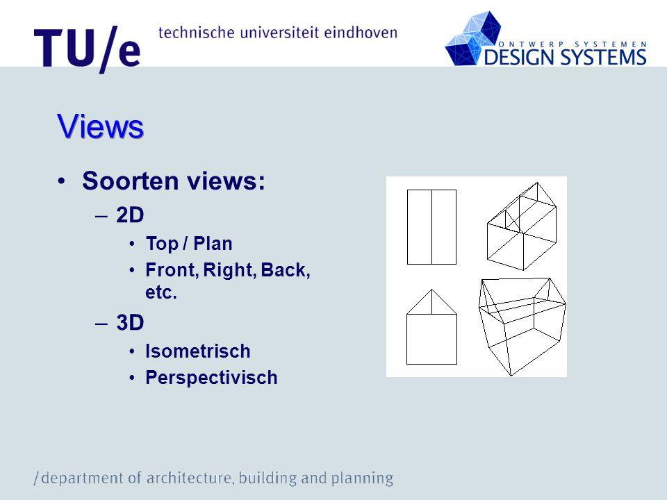 Views Soorten views: 2D 3D Top / Plan Front, Right, Back, etc.