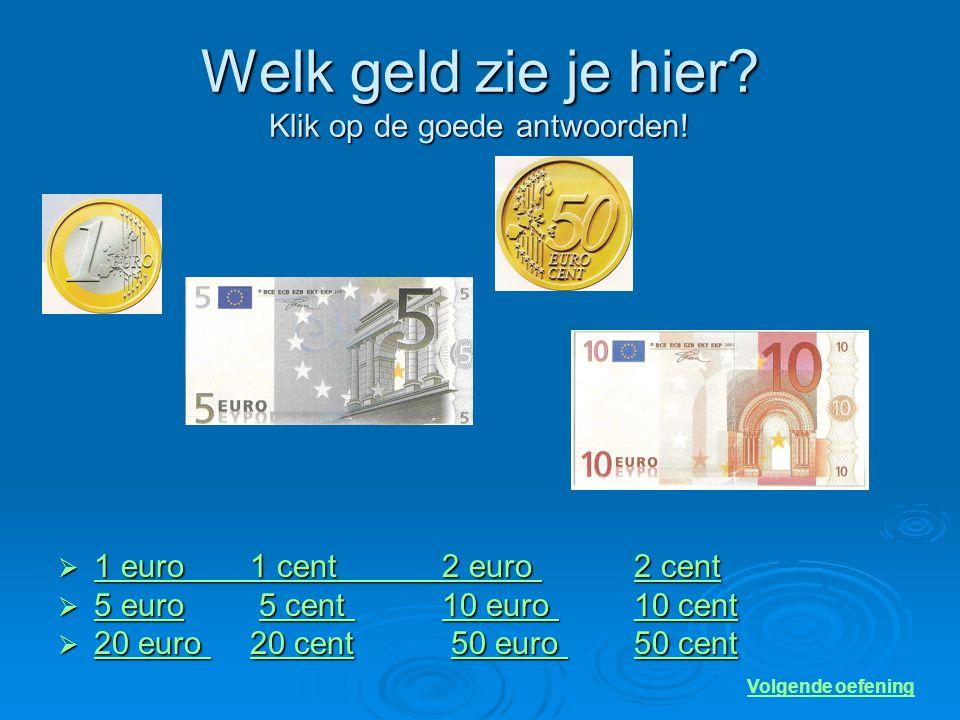 Welk geld zie je hier Klik op de goede antwoorden!