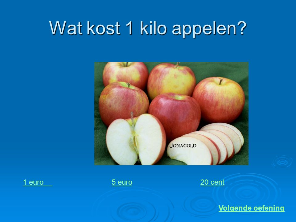 Wat kost 1 kilo appelen 1 euro 5 euro 20 cent Volgende oefening