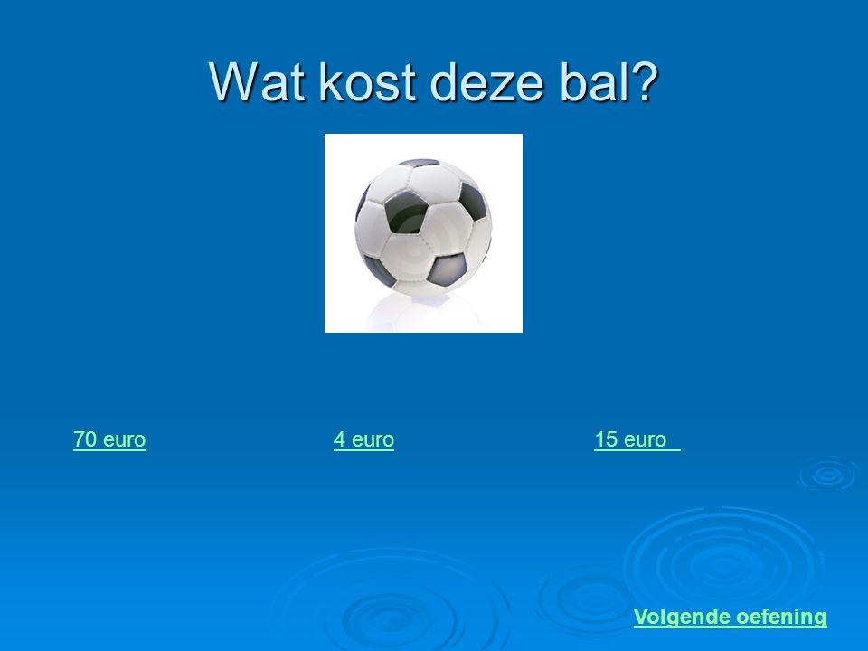 Wat kost deze bal 70 euro 4 euro 15 euro Volgende oefening