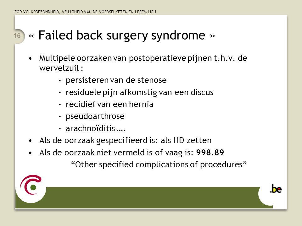 « Failed back surgery syndrome »