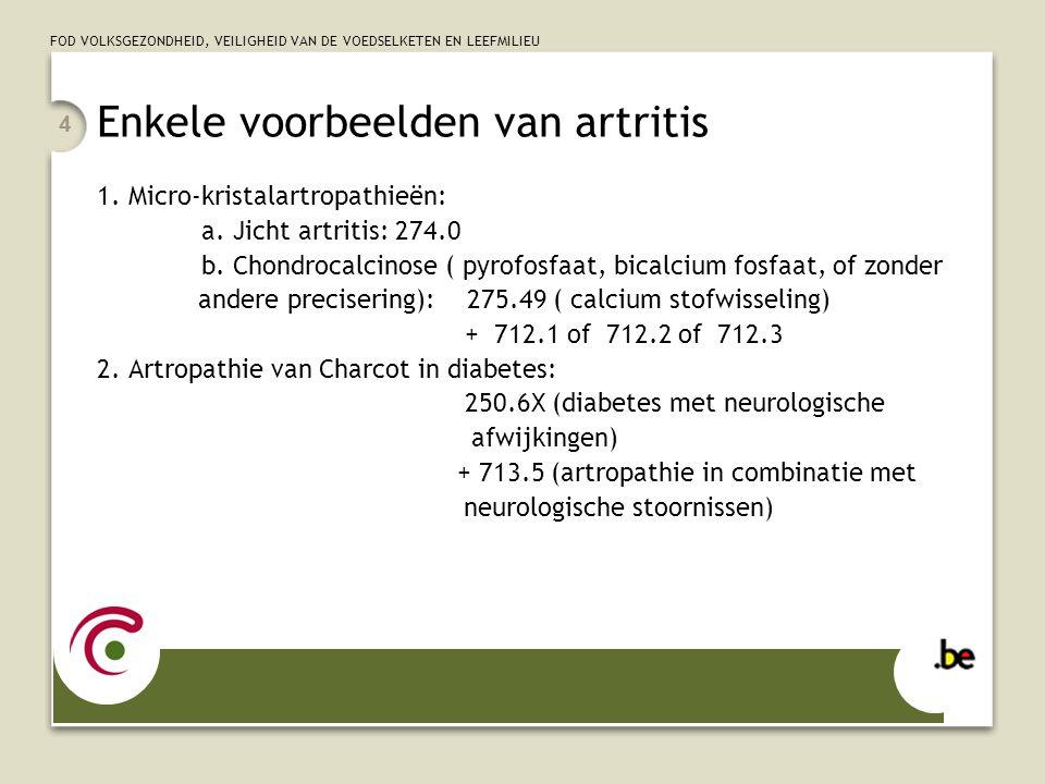 Enkele voorbeelden van artritis
