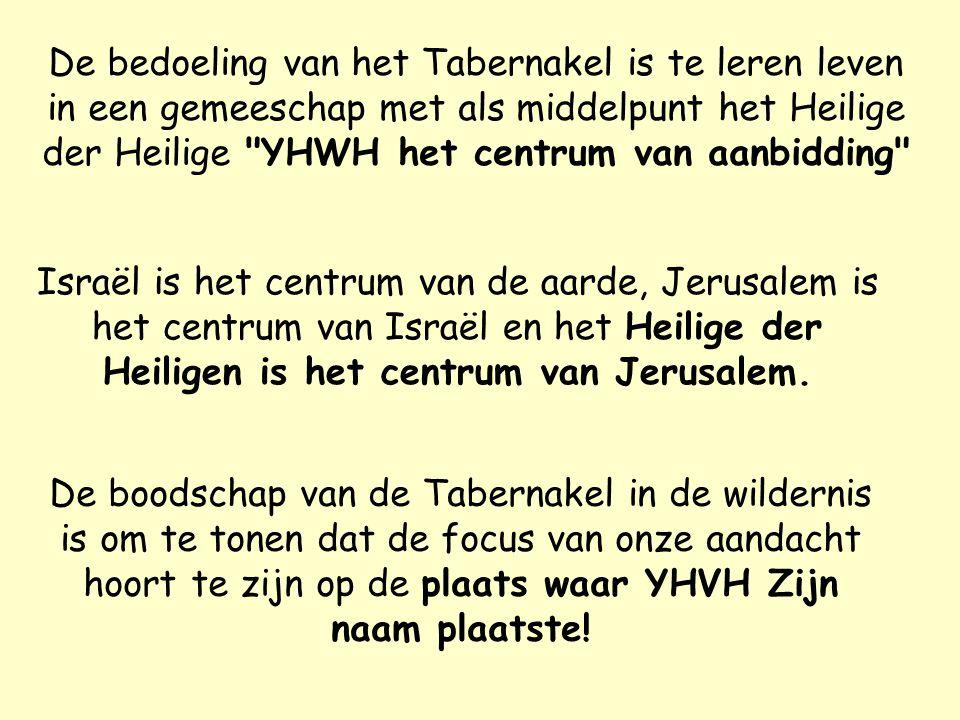 De bedoeling van het Tabernakel is te leren leven in een gemeeschap met als middelpunt het Heilige der Heilige YHWH het centrum van aanbidding