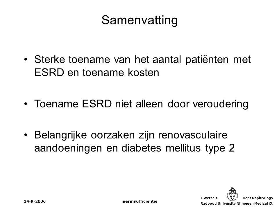 Samenvatting Sterke toename van het aantal patiënten met ESRD en toename kosten. Toename ESRD niet alleen door veroudering.